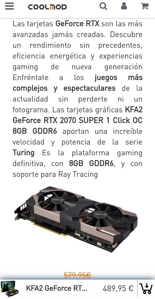 tarjeta grafica rtx 2070 super - como nueva