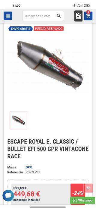 tubo escape GPR vintacone Royal enfield