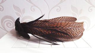 Tocado beige de plumas de faisan