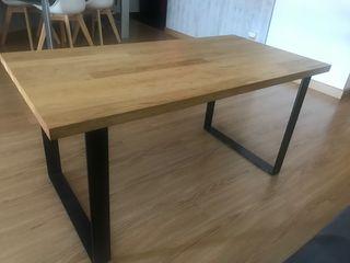 Mesa centro madera maciza y forja