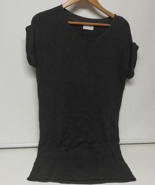 Jersey largo hilo de algodon negro American Vintag