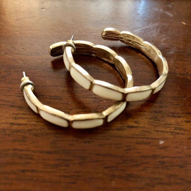 Gold Tone Cream Enamel Pierced Hoop Earrings