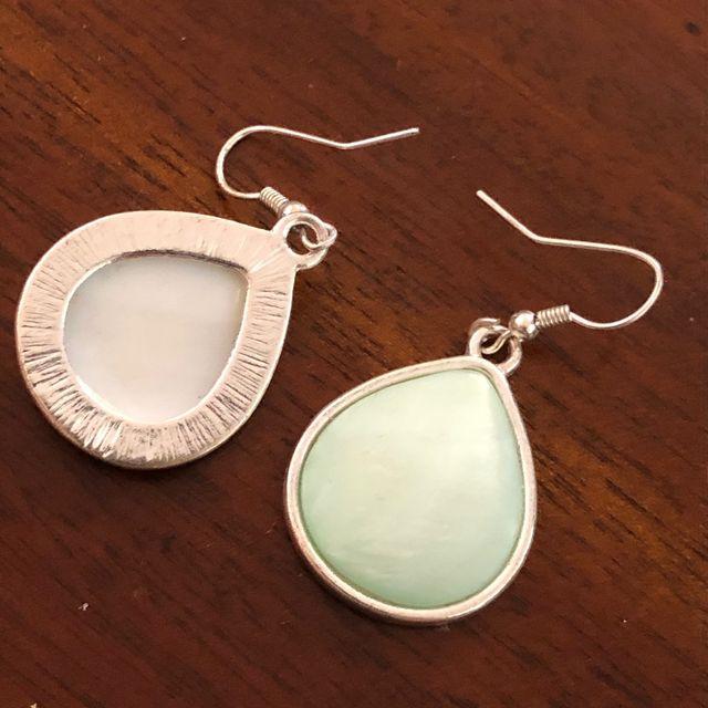 Mint Pistachio Green Resin Silver Tone Earrings