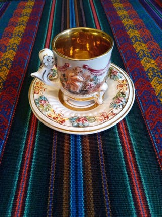 taza de café y plato porcelana Capodimonte