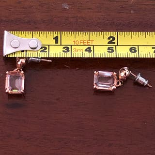 Gorgeous Rose Gold Tone Pink Glass Earrings