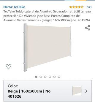 Separador toldo de aluminio.