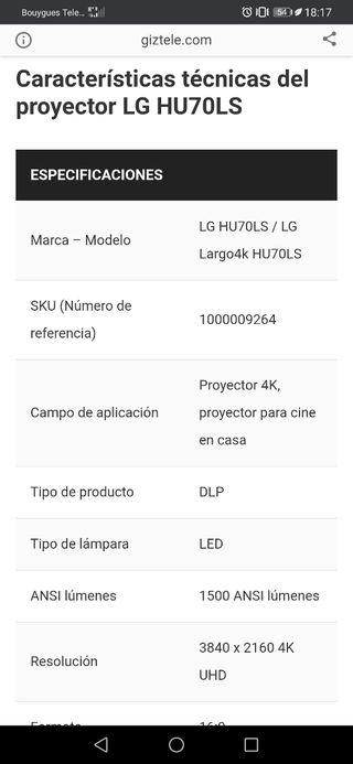 proyector 4k lg hu70ls