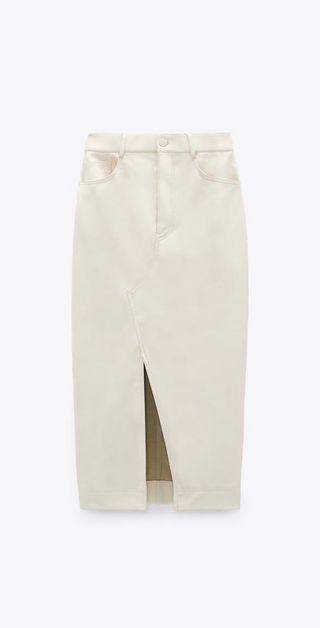 Falda de cuero midi de tiro alto