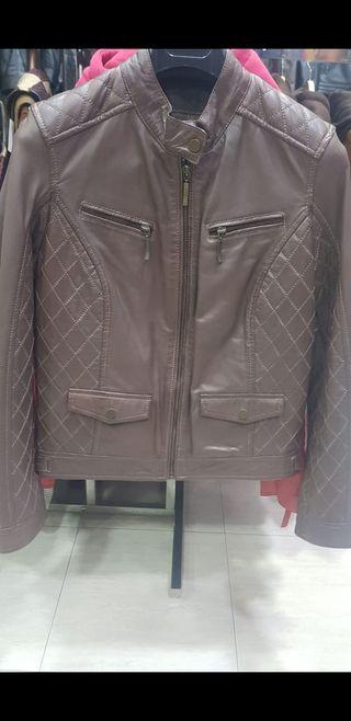 chaqueta de cuero para mujer talla L