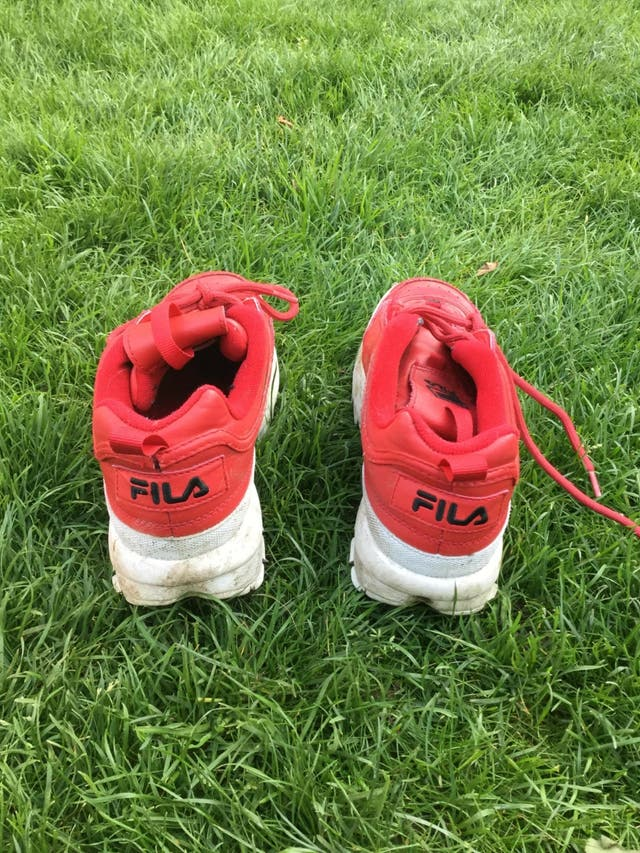 Red fila trainers