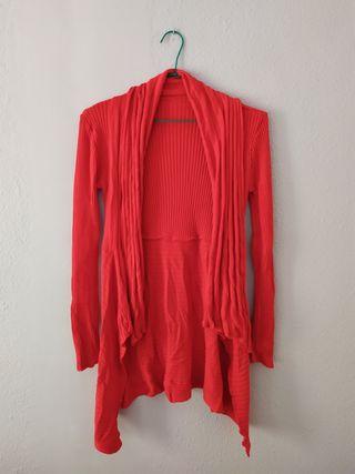 Chaqueta larga abierta color rojo