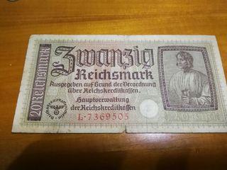 billete 20 marcos alemanes segunda guerra mundial