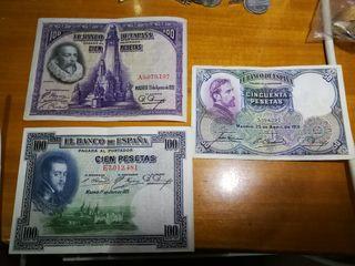 lote de 3 billetes españoles años 20/ 30 autentico