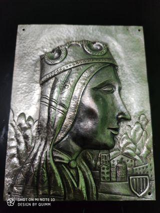 virgen de montserrat de plata lamina 14x18cm