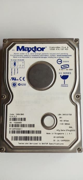 Disco Duro 120GB HDD ATA Maxtor.