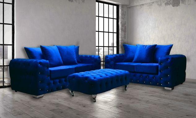 Ashton 3+2 Seater Sofa Blue Italian Velvet