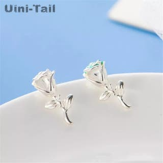 Hot New 925S.S Small Fresh Rose Earrings