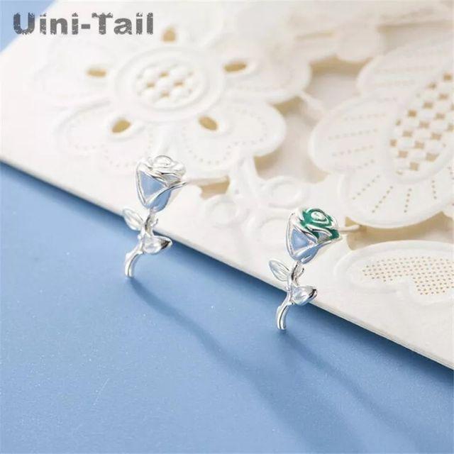 Hot New 925S.S Small Fresh Rose Earrings