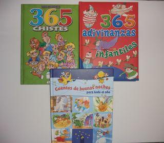 3 libros 365 adivinanzas, chistes y buenas noches