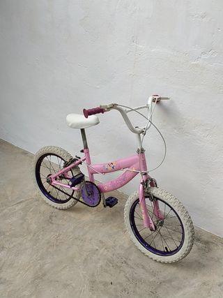 Bici infantil de princesas para niña, 16 pulgadas