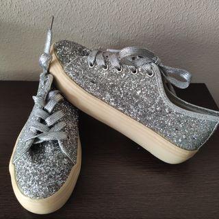 Zapatillas plateadas glitter 40