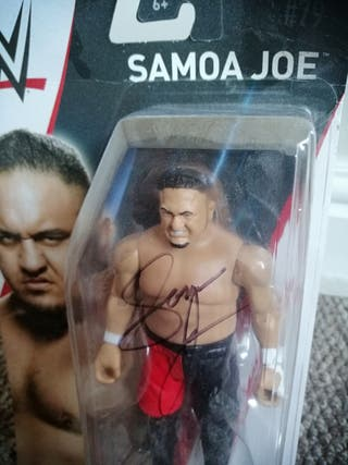 signed wwe Samoa Joe figurine