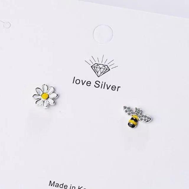 New 925S.S Be Sun Flower Asymetryc Earrings