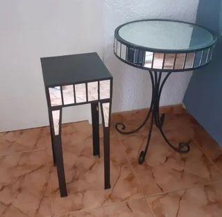 Juego de mesa hierro forjado con espejos vidrio
