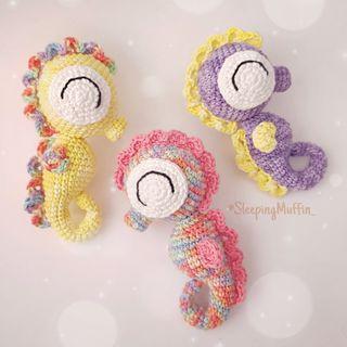 Sonajero caballito de mar crochet / Amigurumi bebé