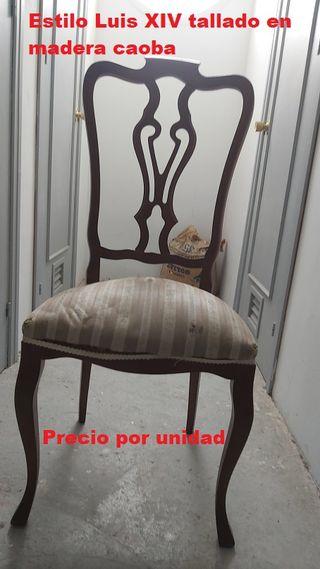 Juego 5 sillas Luis xiv madera caoba tallada