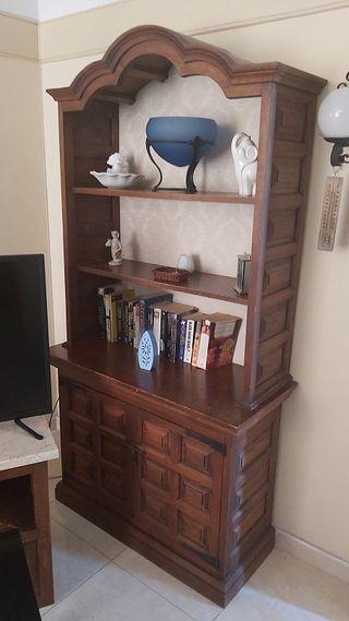 Mueble librero vintage antiguo madera roble