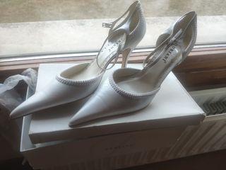 zapatos de tacón novia sin estrenar blanco 41