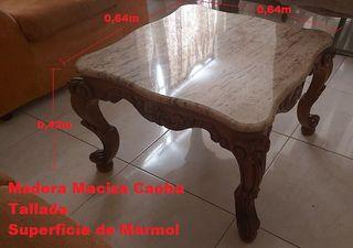 Mesa auxiliar baja de Mármol Madera caoba antigua