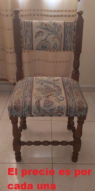 2 Silla estilo vintage antigua madera y tela