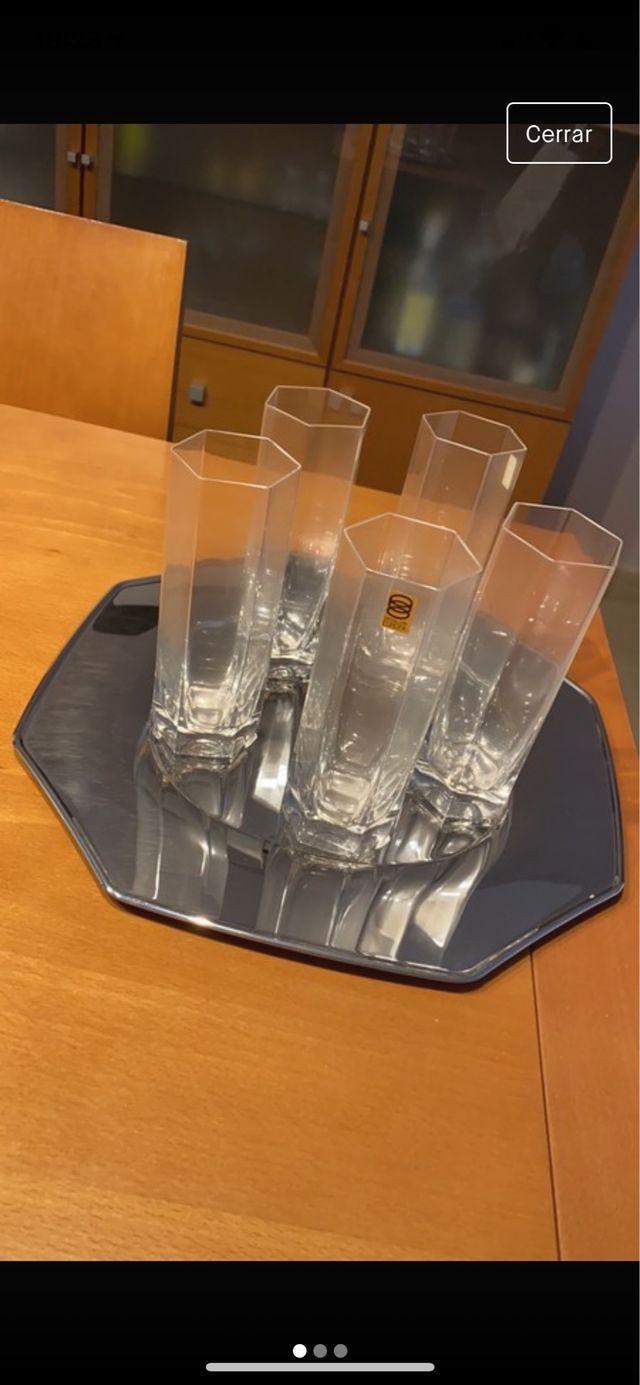 5 vasos hexagonales y bandeja de acero