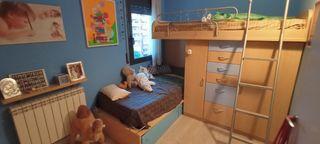 cama litera con armario y cajones