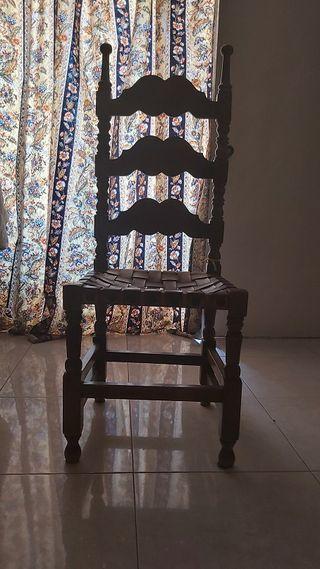Juego 5 sillas castellana rústica cuero madera