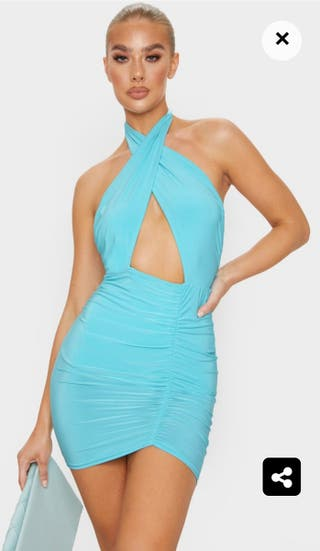 Pretty Little Thing Aqua Ruched Bodycon Dress