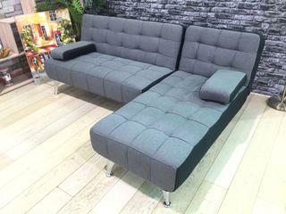 Sofá cama gris tela estilo chaise longue