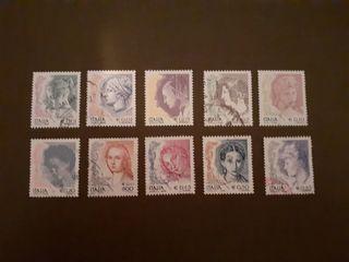 sellos Italia mujer en el arte