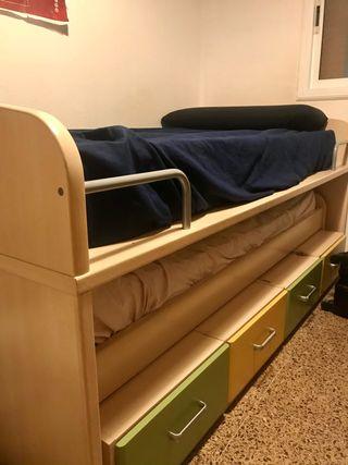Cama nido (sobresale otra cama) madera dormitorio