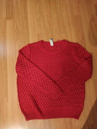 Jersey rojo algodon Pull&Bear talla M -L