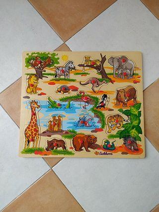 juego de animales de madera