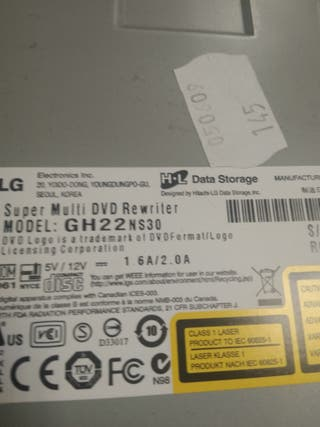 regrabadora DVD LG GH22NS30 Sata negra