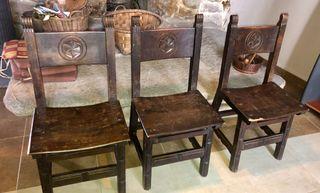 Sillas castellanas madera tallada