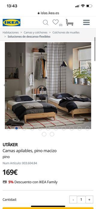 Camas niños apilables Ikea UTAKER