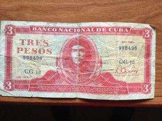 Billete de 3 pesos cubanos de 1985 Che Guevara