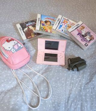 Nintendo DS rosa con complementos.