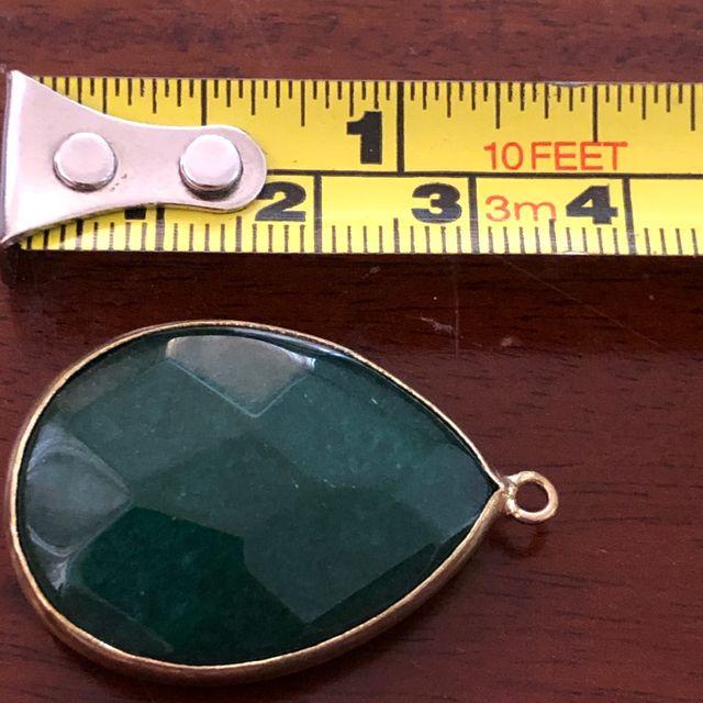 Gold Tone Casing Dark Green Pendant