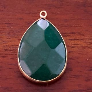 Gold Tone Casing Dark Green Pendant